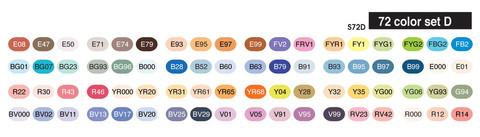 Copic Sketch Marker Set 72D Colour Chart